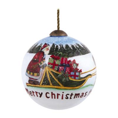 "Ne'Qwa Art  ""Merry Christmas From Alaska"" Artist Susan Winget  Petite Round-Shaped Glass Ornament  #7139904"