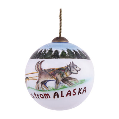 "Ne'Qwa Art  ""Merry Christmas From Alaska"" Artist Susan Winget  Petite Round-Shaped Glass Ornament  #7139904"