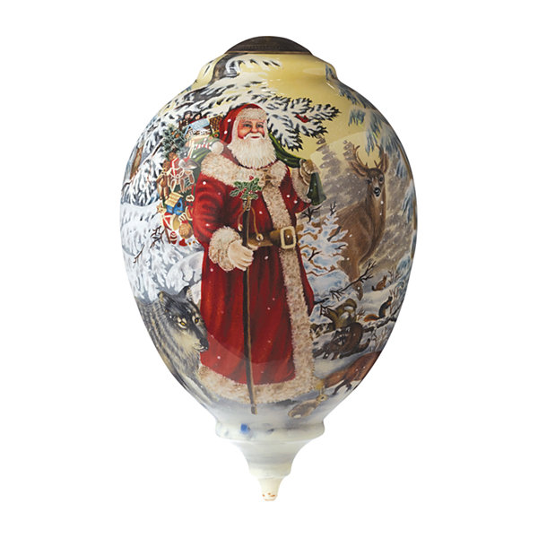 "Ne'Qwa Art  Limited Edition  ""Woodland SantaArtist Liz Goodrick-Dillon  Princess-Shaped Glass Ornament  #7151105"