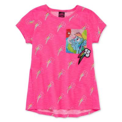 Embroidered Crew Neck Short Sleeve My Little Pony Blouse - Preschool Girls