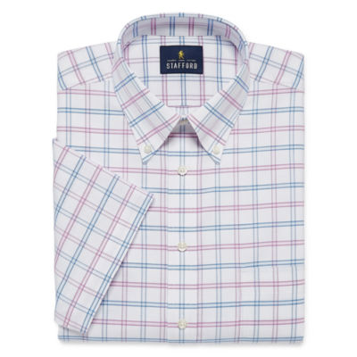 Stafford Travel Wrinkle Free Short Sleeve Oxford Checked Dress Shirt - Big And Tall