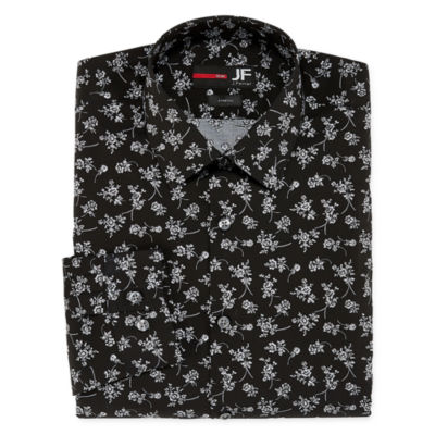 JF J.Ferrar Easy-Care Stretch Long Sleeve Broadcloth Floral Dress Shirt - Big And Tall