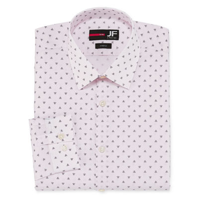 JF J.Ferrar Easy-Care Solid Big And  Tall Long Sleeve Broadcloth Geometric Dress Shirt