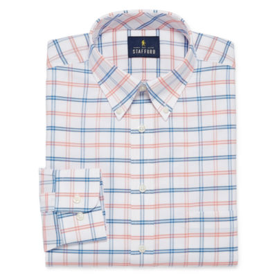 Stafford Travel Wrinkle Free Long Sleeve Oxford Gingham Dress Shirt