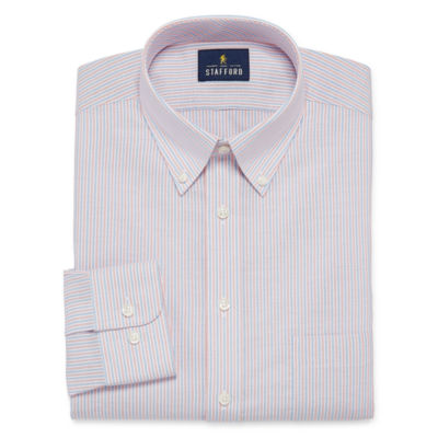 Stafford Travel Wrinkle Free Long Sleeve Oxford Plaid Dress Shirt