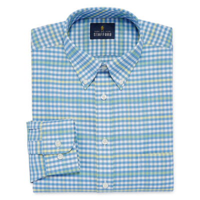 Stafford Travel Wrinkle Free Oxford Long Sleeve Oxford Gingham Dress Shirt