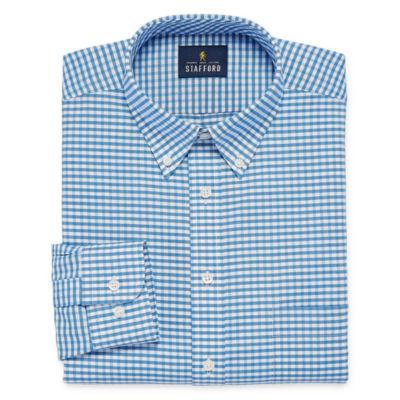 Stafford Travel Wrinkle Free Oxford Long Sleeve Gingham Dress Shirt Big And Tall