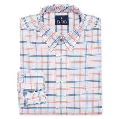 Stafford Travel Wrinkle Free Big and Tall Long-Sleeve Oxford Gingham Dress Shirt