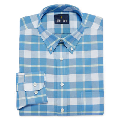 Stafford Travel Wrinkle Free Oxford Long Sleeve Plaid Dress Shirt-  Big And Tall