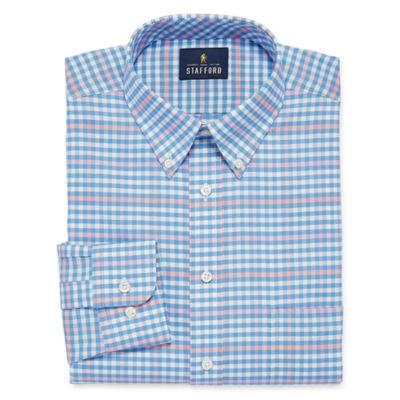 Stafford Travel Wrinkle Free Oxford Long Sleeve Gingham Dress Shirt- Big And Tall
