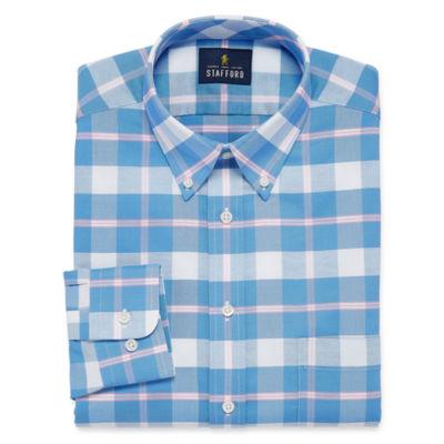Stafford Travel Wrinkle Free Long Sleeve Oxford Plaid Dress Shirt- Big And Tall
