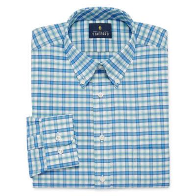 Stafford Travel Wrinkle Free Oxford Big And Tall Long Sleeve Oxford Plaid Dress Shirt
