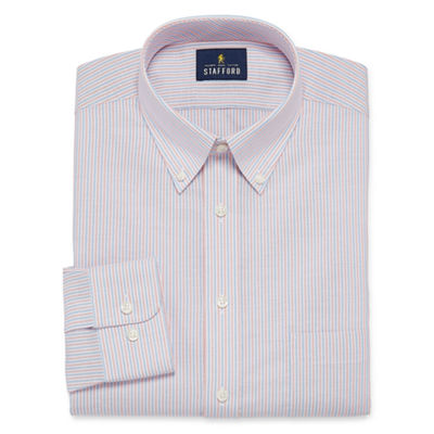 Stafford Travel Wrinkle Free Oxford Big And Tall Long Sleeve Oxford Plaid Dress Shirt