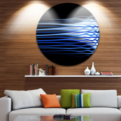 Design Art Dark Blue Fractal Waves Abstract Art onRound Circle Metal Wall Decor Panel