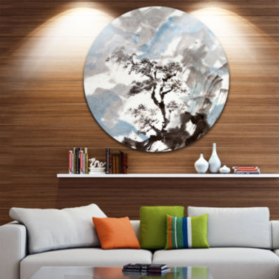 Design Art Chinese Pine Tree Trees Circle Metal Wall Art