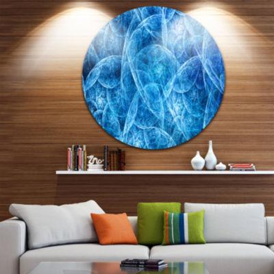 Design Art Dark Blue Fractal Dramatic Clouds Abstract Round Circle Metal Wall Decor