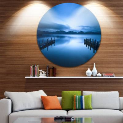 Design Art Dark Blue Sea and Piers Seascape CircleMetal Wall Art