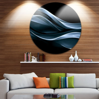 Design Art Fractal Lines Blue in Black Abstract Circle Metal Wall Art