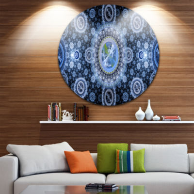 Design Art Clear Blue Psychedelic Relaxing Art Abstract Round Circle Metal Wall Decor