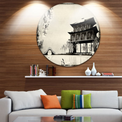 Design Art Chinese Ink Painting Disc Chinese Landscape Circle Metal Wall Art
