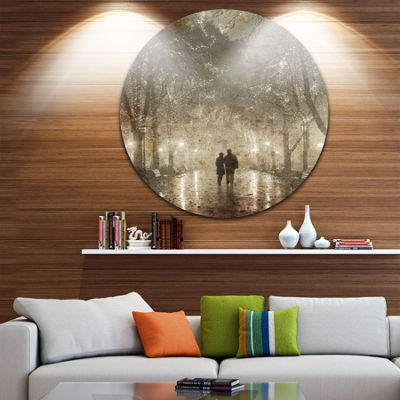 Design Art Couple Walking in Night Lights Landscape Photography Circle Circle Metal Wall Art