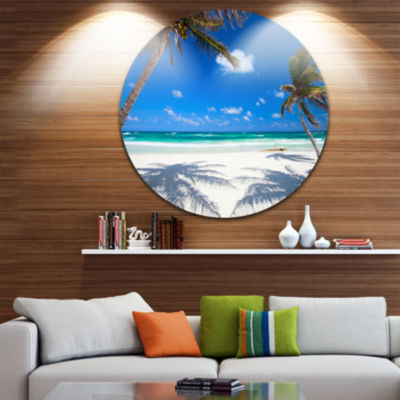 Design Art Coconut Palms at Beach Disc Photo Landscape Circle Metal Wall Art