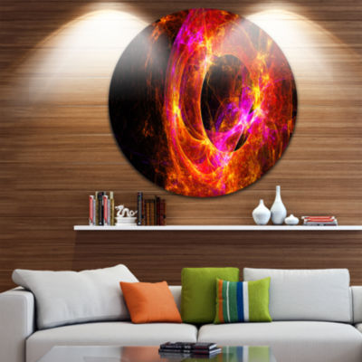 Design Art Far Spherical Galaxy Red Disc AbstractCircle Metal Wall Art
