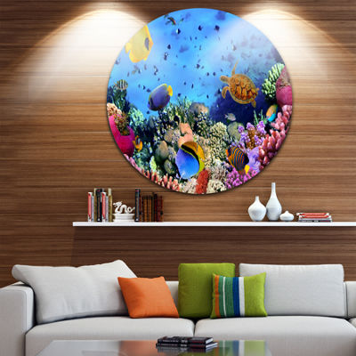 Design Art Coral Colony and Coral Fishes Disc Seascape Circle Metal Wall Art