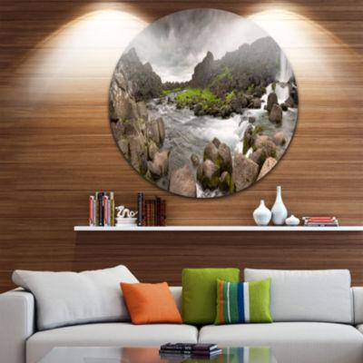 Design Art Dramatic Oxarafoss Waterfalls AbstractArt on Round Circle Metal Wall Decor Panel