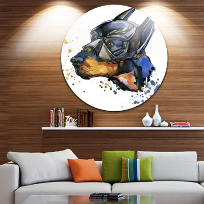 Design Art Doberman Superman Animal Kids Metal Circle Wall Art