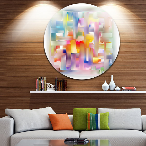 Design Art Colorful Seamless Pattern Disc AbstractCircle Metal Wall Art
