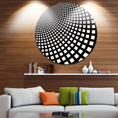 Design Art Fractal Square Pixel Mosaic Illustration Abstract Round Circle Metal Wall Decor Panel