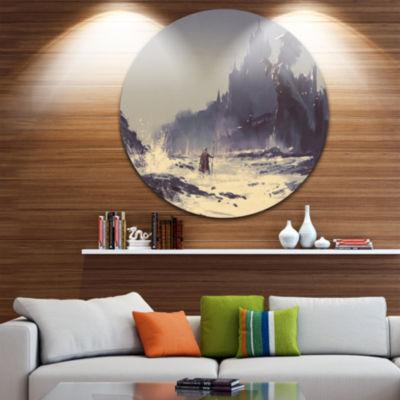 Design Art Dark Fantasy Castle Disc Landscape Painting Circle Metal Wall Art