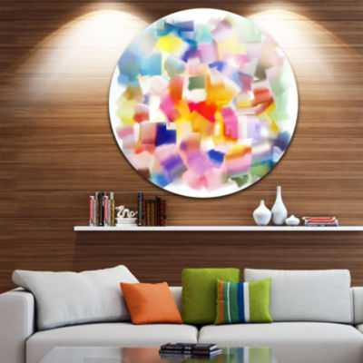 Design Art Colorful Stain Design without Grid DiscLarge Contemporary Circle Metal Wall Art