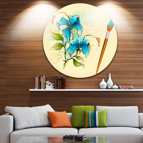 Design Art Flower with Brush Illustration Floral Metal Circle Wall Art