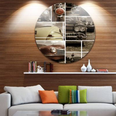Design Art Classic Car Collection Collage AbstractRound Circle Metal Wall Decor