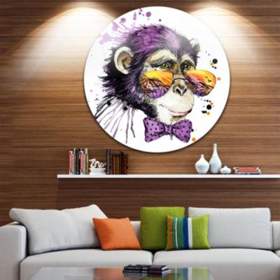 Design Art Cool Monkey Animal Kids Metal Circle Wall Arts