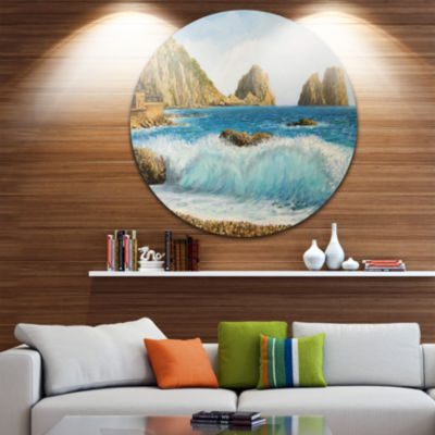 Design Art Faraglioni on Island Capri Seascape Circle Metal Wall Art