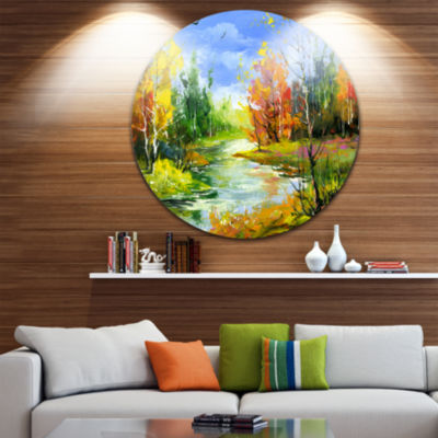 Design Art Fusion of Autumn Shades Landscape Circle Metal Wall Art