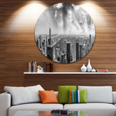 Design Art Central Park and Surrounding BuildingsDisc Cityscape Photo Circle Metal Wall Art