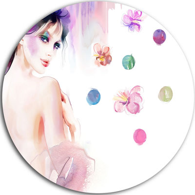 Design Art Fashion Woman with Purple Shade Disc Watercolor Painting Circle Metal Wall Art