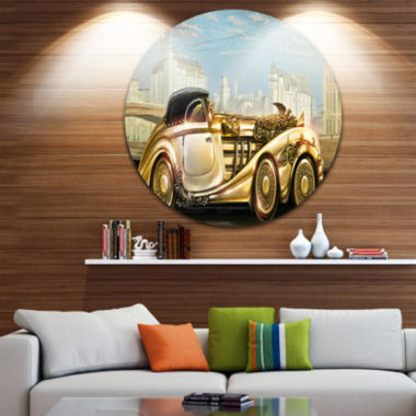 Design Art Futuristic Gold Machine Disc Abstract Circle Metal Wall Art