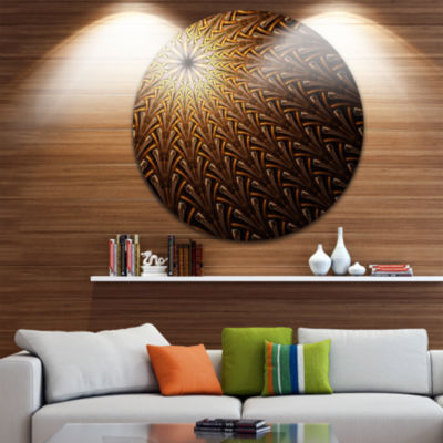Design Art Dark Orange Fractal Flower Pattern Abstract Round Circle Metal Wall Decor Panel