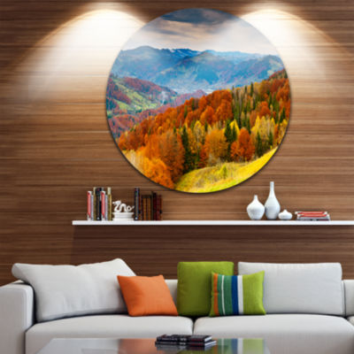Design Art Colorful Autumn Valley Disc Landscape Photography Circle Metal Wall Art