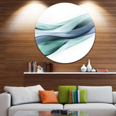 Design Art Fractal Lines Grey Blue Abstract CircleMetal Wall Art