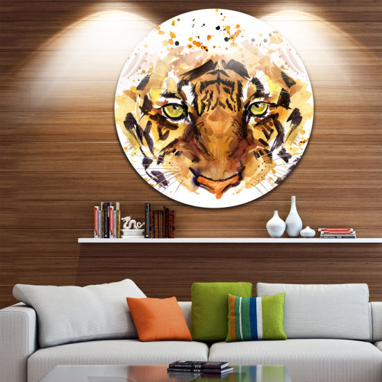 Design Art Eyes with Fire Animal Metal Circle WallArt