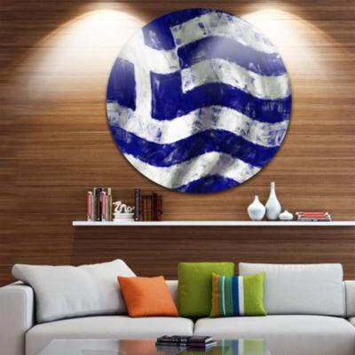 Design Art Flag of Greece Disc Contemporary CircleMetal Wall Art