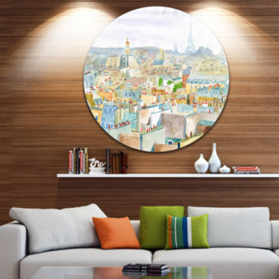 Design Art City of Paris Disc Watercolor CityscapeCircle Metal Wall Art