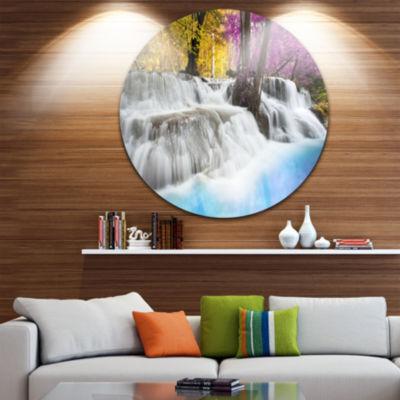Design Art Erawan Waterfall Large Landscape Photography Circle Metal Wall Art