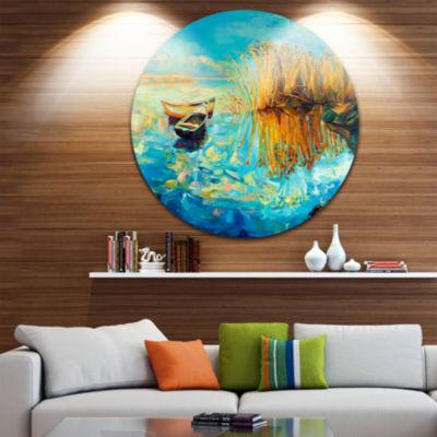 Design Art Colorful Lake with Boats Seascape Circle Metal Wall Art